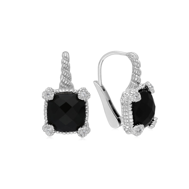 Little Luxuries Black Onyx Drop Earrings with White Topaz Heart Prongs