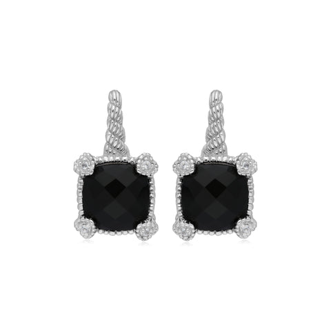 RIPKA La Petite Black Onyx Drop Earrings with White Topaz Heart Prongs