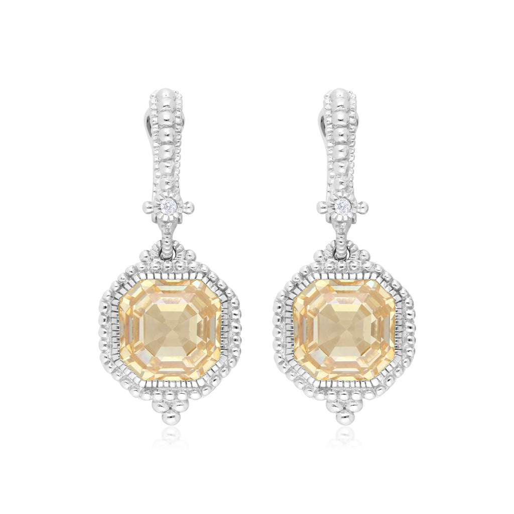Estate Canary CZ & White Topaz Earrings