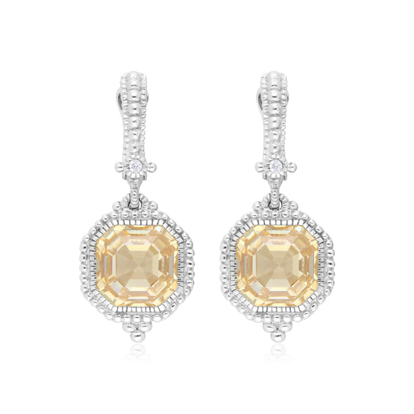 RIPKA Estate Canary CZ & White Topaz Earrings