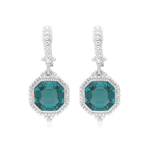 RIPKA Estate Synthetic Green Quartz & White Topaz Earrings