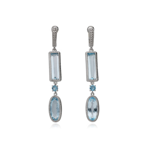 RIPKA Rio Multi Shape Blue Topaz & London Blue Topaz Drop Earrings