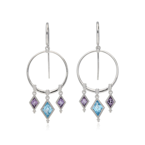 RIPKA Rio Hoop Earrings with Dangling Swiss Blue Topaz & Pink Amethyst Charms