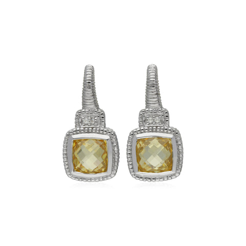 RIPKA La Petite Cushion Shape Canary CZ Drop Earrings with White Topaz Accents