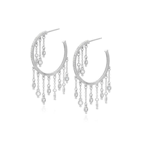 RIPKA Santorini White Topaz Fringe Hoop Earrings