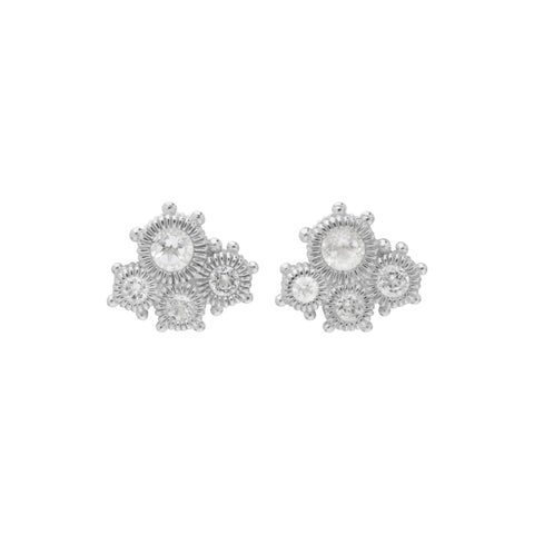RIPKA Santorini White Topaz Multiple Stone Cluster Stud Earrings