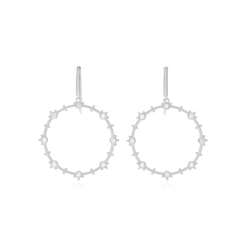 RIPKA Santorini White Topaz Forward Facing Hoop Drop Earrings