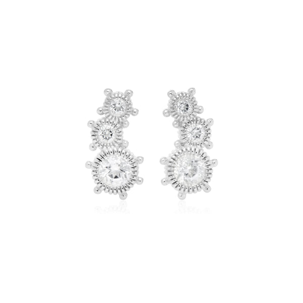 RIPKA Santorini White Topaz Crawler Stud Earrings