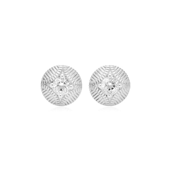 RIPKA La Petite Round Stud with White Topaz Center