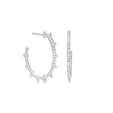 RIPKA La Petite Hoop Earrings with Bead Details and White Topaz Accents