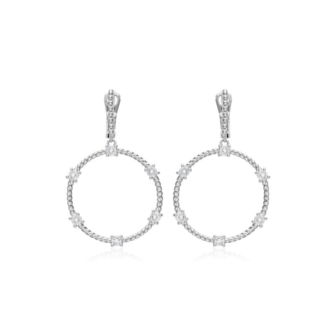 RIPKA Santorini Forward Facing Hoop Earrings with Prong Set White Topaz Stones