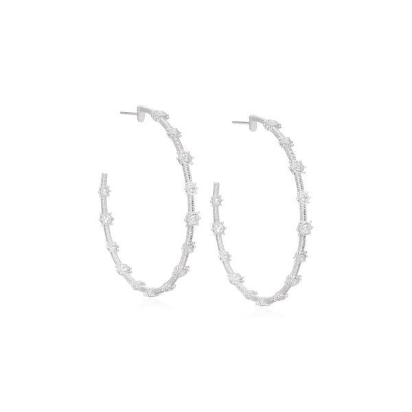 RIPKA Santorini Oversized White Topaz Bezel Set Hoop Earrings