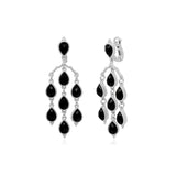 RIPKA Amalfi Pear Shape Black Onyx Chandelier Earrings