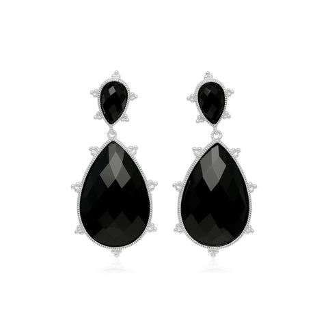 RIPKA Amalfi Large Pear Shape Black Onyx Drop Earrings