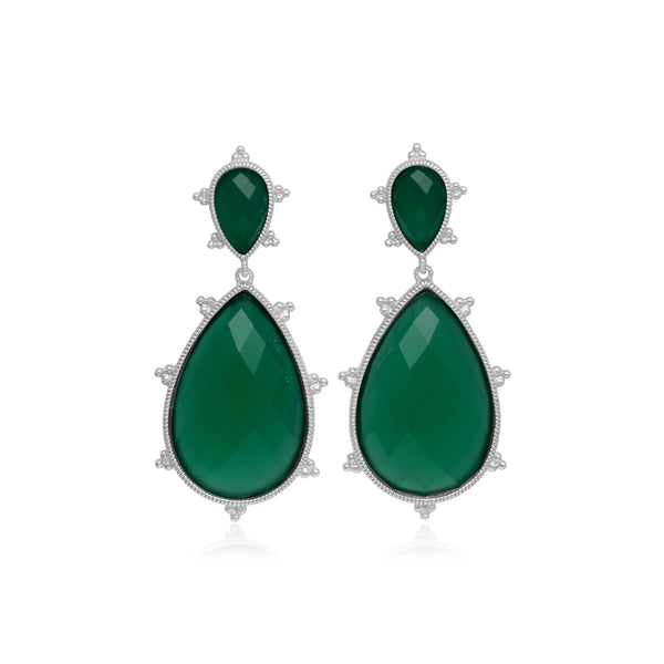 RIPKA Amalfi Large Pear Shape Green Chalcedony & Rock Crystal Doublet Drop Earrings