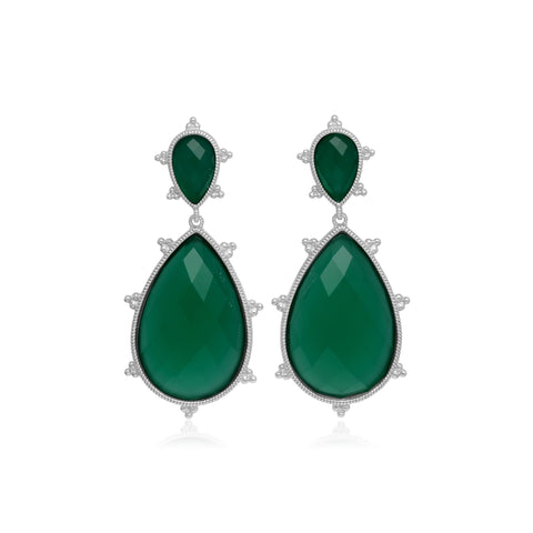 RIPKA Amalfi Large Pear Shape Green Chalcedony Drop Earrings