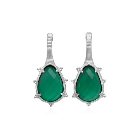 RIPKA Amalfi Pear Shape Green Chalcedony Drop Earrings