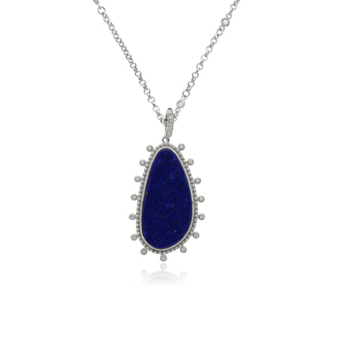 "RIPKA Sardinia Large Organic Slice Lapis Pendant with White Topaz Accents on 17"" Chain"