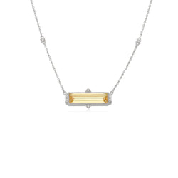 Estate Emerald Shape Canary CZ Bar Necklace with White Topaz Accents