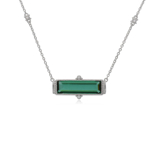 RIPKA Sanibel Emerald Shape Green Quartz Bar Necklace with White Topaz Accents
