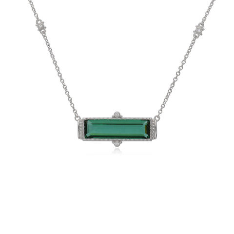 Estate Emerald Shape Green Quartz Bar Necklace with White Topaz Accents