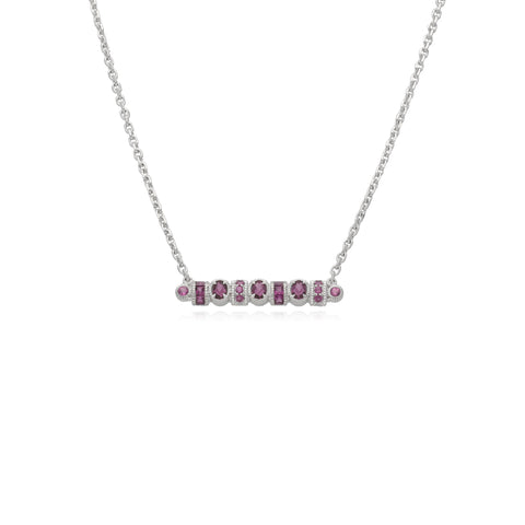 RIPKA Mardi Gras Multi Shape Rhodolite Bar Necklace
