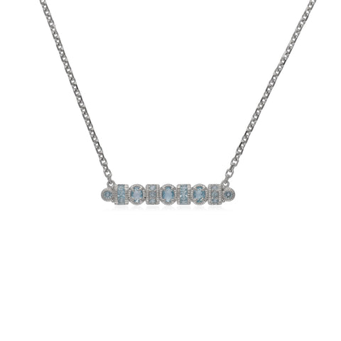 RIPKA Mardi Gras Multi Shape Sky Blue Topaz Bar Necklace