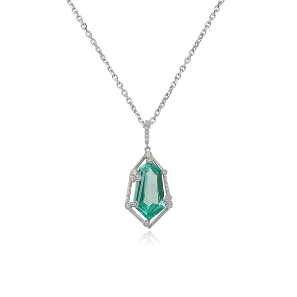 RIPKA Martinique Synthetic Paraiba Spinel Hexagon Pendant with White Topaz Accents