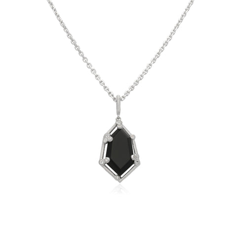 RIPKA Martinique Black Onyx Hexagon Pendant with White Topaz Accents