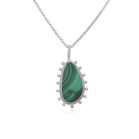 "RIPKA Sardinia Large Organic Slice Malachite Pendant with White Topaz Accents on 36"" Chain"