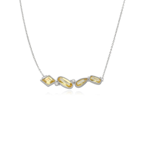 RIPKA Rio Multi Shape Canary CZ Bar Necklace with White Topaz Accents