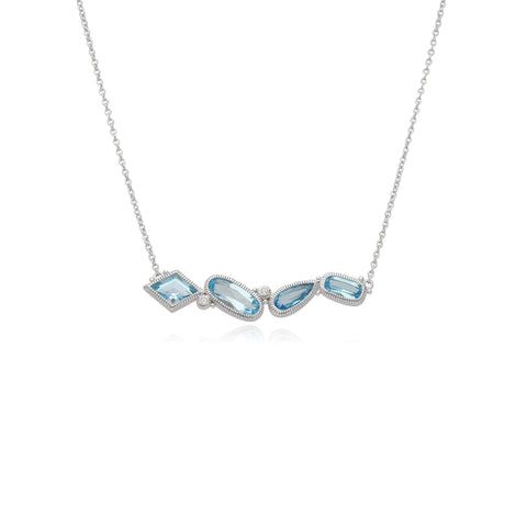 RIPKA Rio Multi Shape Swiss Blue Topaz Bar Necklace with White Topaz Accents
