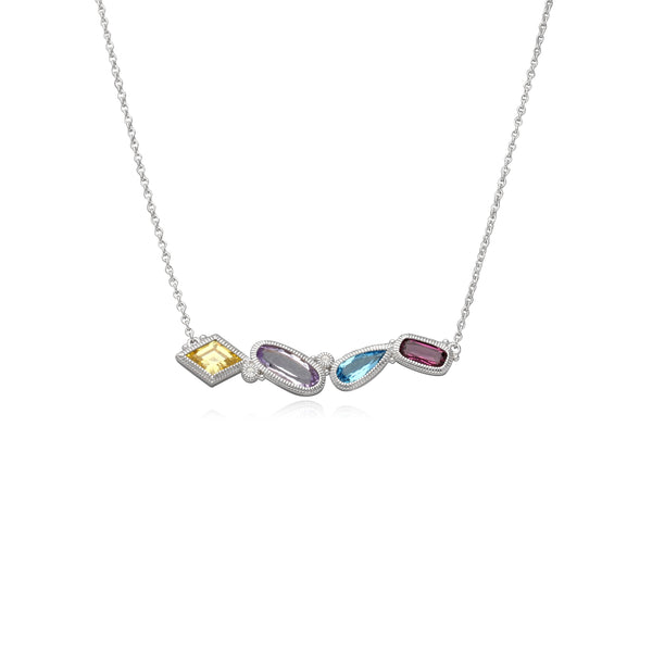 RIPKA Rio Multi Shape Blue Topaz, Pink Amethyst, Canary CZ & Rhodolite Bar Necklace with White Topaz Accents