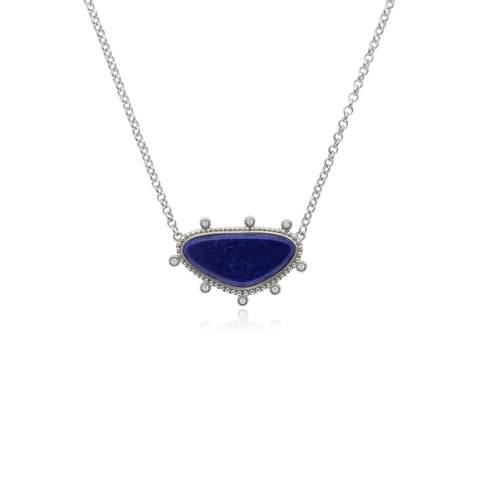 RIPKA Sardinia Small Organic Slice Lapis Necklace with White Topaz Accents