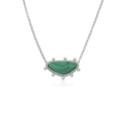 RIPKA Sardinia Small Organic Slice Malachite Necklace with White Topaz Accents