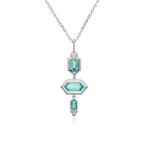 RIPKA Martinique Synthetic Paraiba Spinel Three Stone Hexagon Pendant with White Topaz Accents