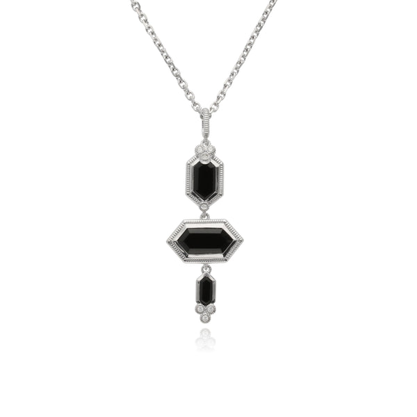 RIPKA Martinique Black Onyx Three Stone Hexagon Pendant with White Topaz Accents