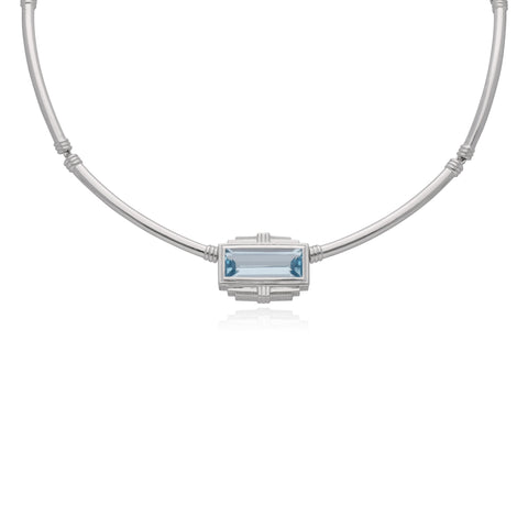 RIPKA Cityscapes Sky Blue Topaz Baguette Collar Necklace
