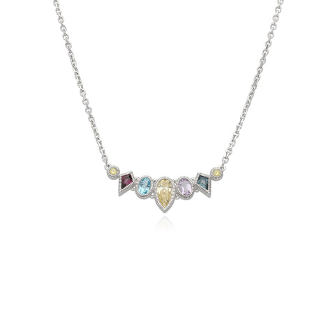 RIPKA Rio Multi Shape Blue Topaz, Canary CZ, Pink Amethyst & Rhodolite Cluster Bar Necklace