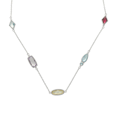 RIPKA Rio Multi Shape Canary CZ, Blue Topaz, Pink Amethyst & Rhodolite Station Chain Necklace