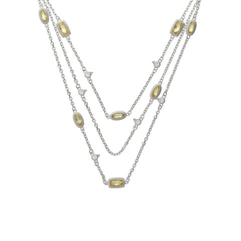 RIPKA Sanibel Faceted Canary CZ Station Chain Necklace with White Topaz Accents