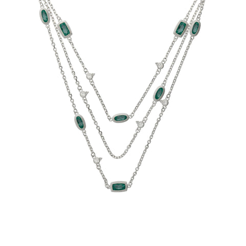 RIPKA Sanibel Faceted Canary Green Quartz Chain Necklace with White Topaz Accents