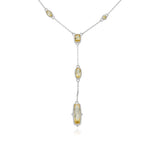RIPKA Sanibel Faceted Canary Crystal Station Chain Y Necklace