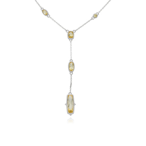 RIPKA Sanibel Faceted Canary CZ Station Chain Y Necklace