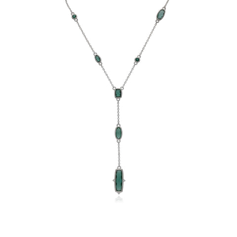 RIPKA Sanibel Faceted Green Quartz Chain Y Necklace