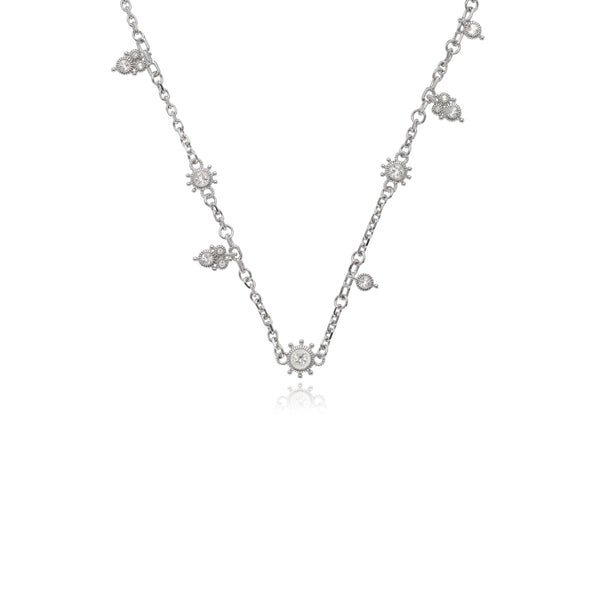 RIPKA Santorini White Topaz Station Chain Necklace with Dangle Accents