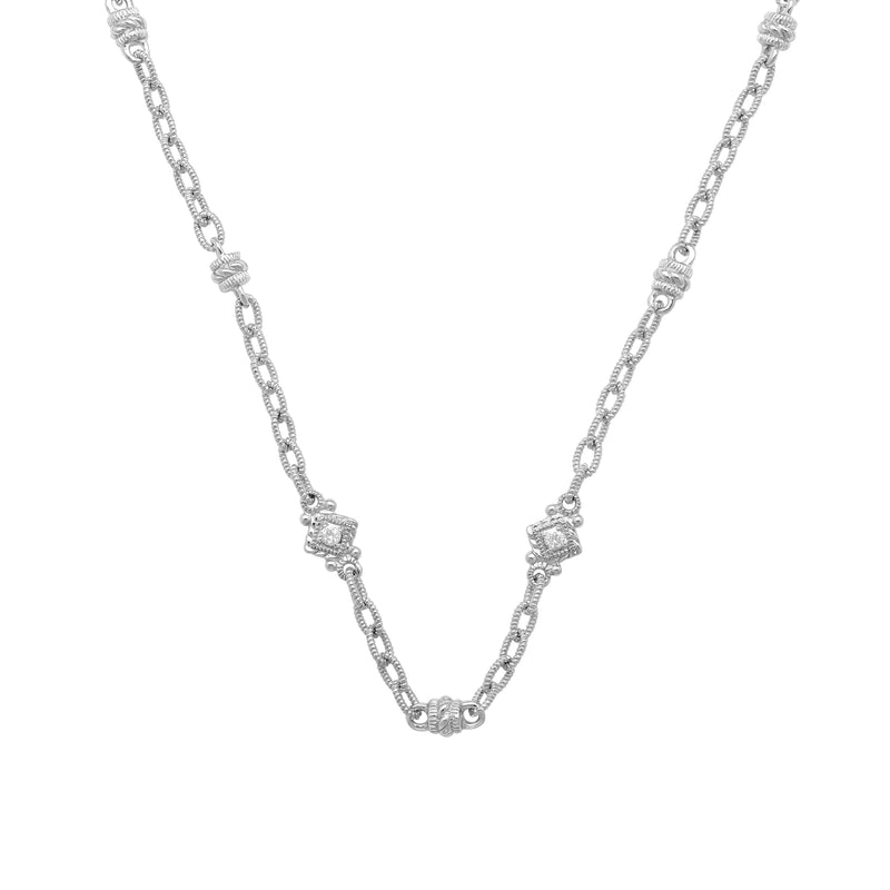 Estate White Topaz Barrel & Cube Chain Necklace
