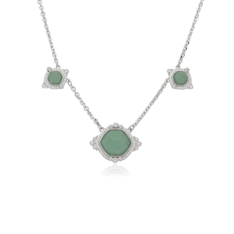 RIPKA Newport Green Jade Three Stone Station Necklace with White Topaz Accents