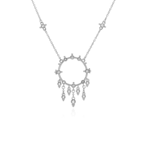 RIPKA Santorini Open Circle Necklace with White Topaz Dangles