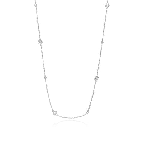Santorini Long Station Necklace with White Topaz Accents